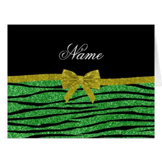 Custom name light green glitter zebra stripes bow card