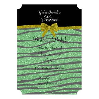 Custom name light green glitter zebra stripes bow custom announcements