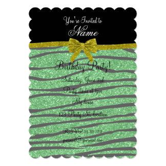"Custom name light green glitter zebra stripes bow 5"" x 7"" invitation card"
