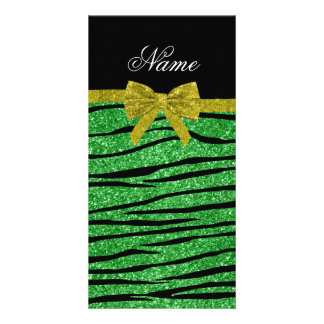 Custom name light green glitter zebra stripes bow photo card template