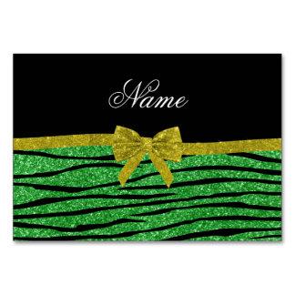 Custom name light green glitter zebra stripes bow table card