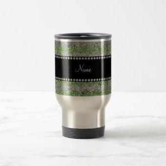 Custom name light green silver glitter chevrons mugs