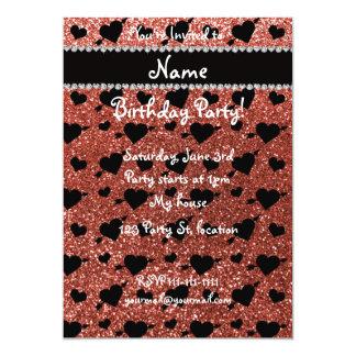 Custom name light orange glitter hearts arrows 13 cm x 18 cm invitation card