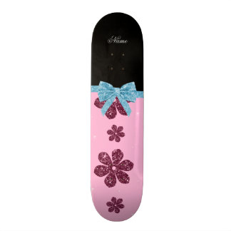Custom name light pink glitter flowers blue bow skate deck