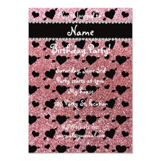 Custom name light pink glitter hearts arrows 13 cm x 18 cm invitation card