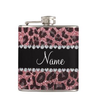 Custom name light pink glitter leopard print hip flask