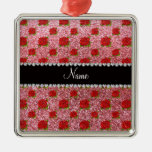 Custom name light pink glitter roses Silver-Colored square decoration