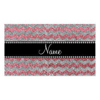 Custom name light pink silver glitter chevrons business card