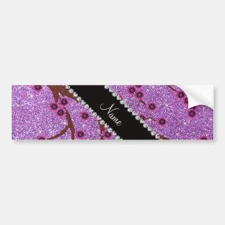 Custom name light purple glitter cherry blossoms bumper stickers