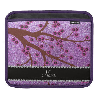 Custom name light purple glitter cherry blossoms iPad sleeves