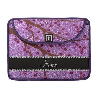 Custom name light purple glitter cherry blossoms MacBook pro sleeve