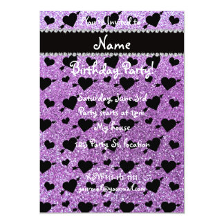 Custom name light purple glitter hearts arrows 13 cm x 18 cm invitation card
