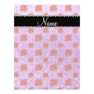 Custom name light purple glitter roses 21.5 cm x 28 cm flyer