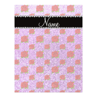 Custom name light purple glitter roses flyer design