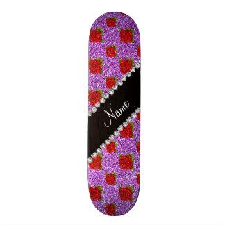 Custom name light purple glitter roses skate deck