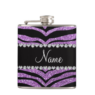 Custom name light purple glitter tiger stripes hip flask
