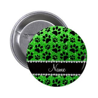 Custom name lime green glitter black dog paws pin