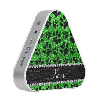 Custom name lime green glitter black dog paws speaker
