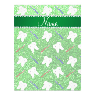 """Custom name lime green glitter brushes and tooth 8.5"""" x 11"""" flyer"""