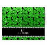 Custom name lime green glitter cheerleading