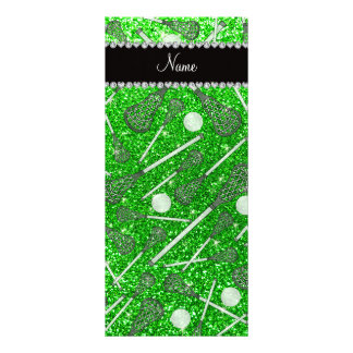 Custom name lime green glitter lacrosse sticks custom rack cards