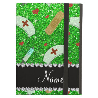Custom name lime green glitter nurse hats heart iPad air case