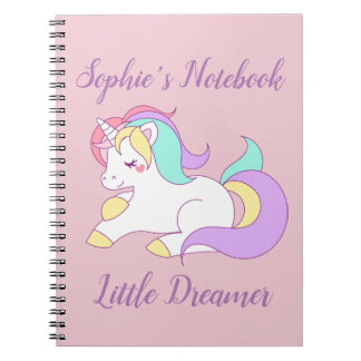 "Custom Name ""Little Dreamer"" Unicorn Pink Notebook"