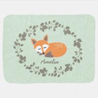 Custom Fox Baby Blanket