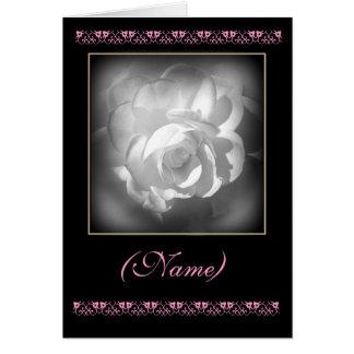 CUSTOM NAME Maid of Honour Invitation White Rose Greeting Card