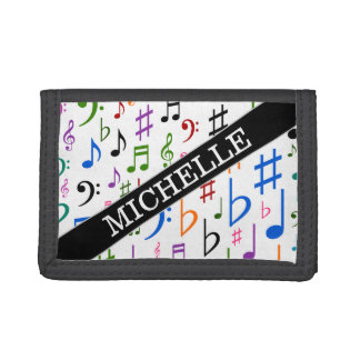 Custom Name; Many Colorful Music Notes and Symbols Tri-fold Wallet