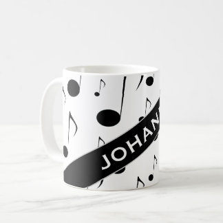 Custom Name + Many Musical Notes Pattern Mug