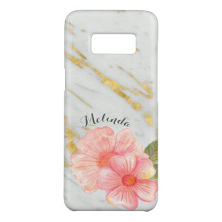 Custom Name | Marble and Peach Floral Bouquet Gift Case-Mate Samsung Galaxy S8 Case