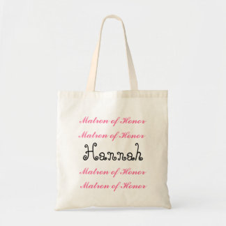 Custom Name MATRON OF HONOR Bag Pink Black Script