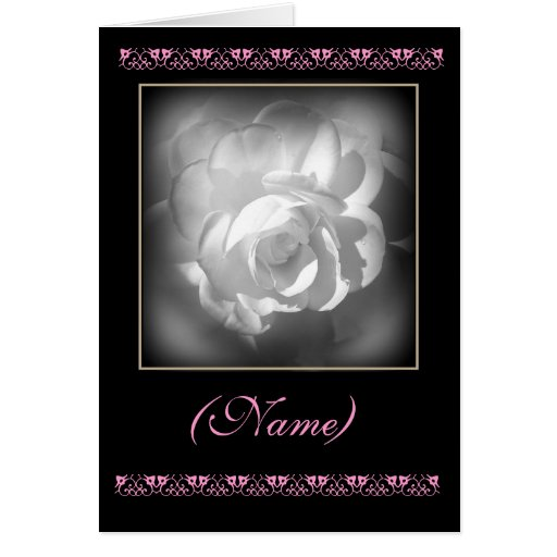 CUSTOM NAME Matron of Honour Invitation White Rose Greeting Cards