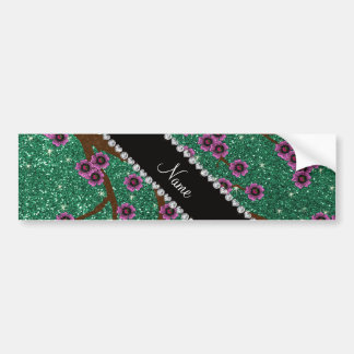 Custom name mint green glitter cherry blossoms bumper sticker