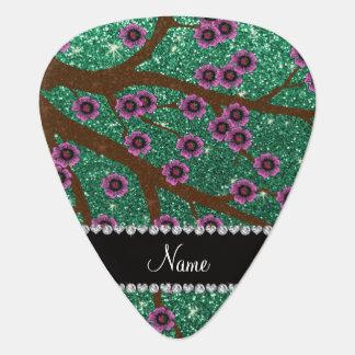 Custom name mint green glitter cherry blossoms pick