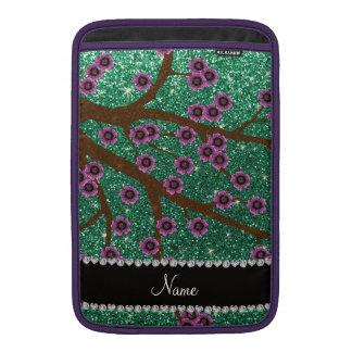 Custom name mint green glitter cherry blossoms sleeve for MacBook air