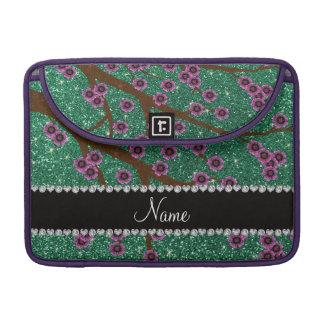 Custom name mint green glitter cherry blossoms sleeve for MacBook pro