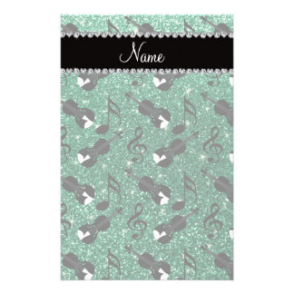 Custom name mint green glitter violins music notes customized stationery