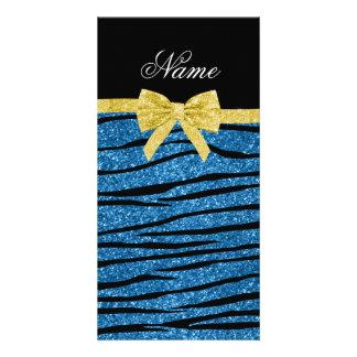 Custom name misty blue glitter zebra stripes bow photo greeting card