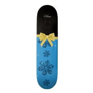 Custom name misty glitter blue flowers gold bow custom skateboard