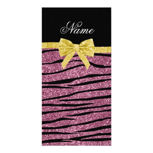 Custom name misty pink glitter zebra stripes bow personalized photo card