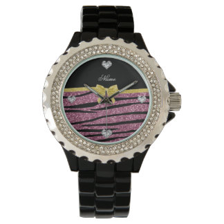 Custom name misty pink glitter zebra stripes bow watches