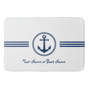 Custom Name Modern Anchor Bath Mat