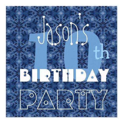 Custom Name Modern Kid's 10th Birthday Blue Y115 Custom Announcement
