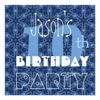 Custom Name Modern Kid's 10th Birthday Blue Y115 13 Cm X 13 Cm Square Invitation Card