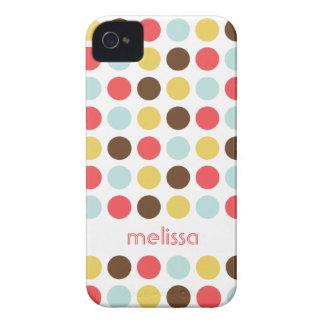 Custom name modern polka dot colorful pattern iPhone 4 cover