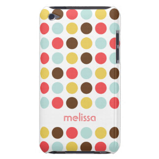 Custom name modern polka dot colorful pattern iPod Case-Mate case