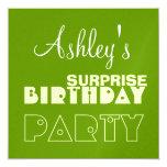 Custom Name Modern SURPRISE Birthday Green