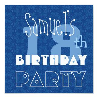 Custom Name Modern Teen's 18th Birthday Blue 13 Cm X 13 Cm Square Invitation Card